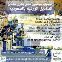 صورة- مطلوب ميكانيكي وردية ومساعدين لكبرى مصانع المناديل الورقية بالرياض