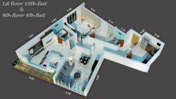 بدفعة أولى 55 ألف وتقسيط ل 5 سنوات للبيع شقة غرفتين وصالة ب550ألف درهم